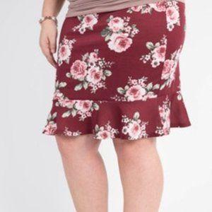 Agnes & Dora Flounce Pencil Skirt: burgundy floral